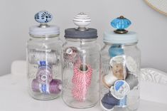 Upcycle old jars from the kitchen to create delightful storage solutions! These DIY jars with decorative knob handles make for pretty and practical storage. Mason Jar Crafts, Mason Jars, Diy Jars, Glass Jars, Mason Jar Storage, Diy Crafts For Bedroom, Art Cart, Decorative Knobs, Craft Room Storage