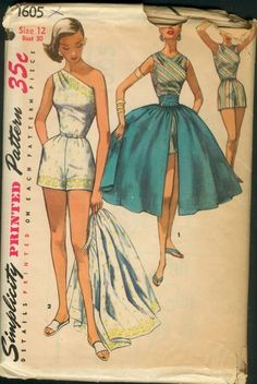 Simplicity 1605 ©1956 One-Piece Playsuit, Skirt, and Cummerbund for border prints