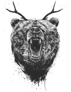 Camiseta Angry bear with antlers do Studio Soltib por R$65,00
