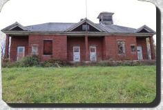 Brick School House on county Route Four, bearing a Persia School District moniker. Zoar Valley Area, Cattauragus County