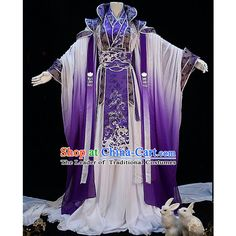 Traditional Ancient Chinese Palace Queen Costume, Elegant Hanfu... (4.375 DKK) ❤ liked on Polyvore featuring costumes, cosplay costumes, womens fairy costume, lady halloween costumes, fairy tail costumes and purple fairy costume