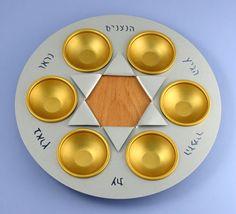 Passover-Seder-Plate-handmade-Gold-Aluminum-and-Wood-star-of-David-Decor