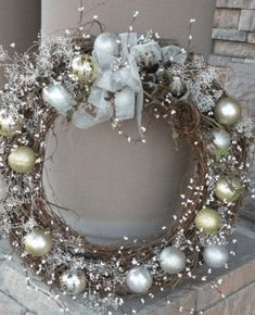 Seasons Of Joy: Seasons Greetings Wreath I could make this out of the grape vine wreaths I make every year from dad's house. Noel Christmas, All Things Christmas, Winter Christmas, Thanksgiving Holiday, Coastal Christmas, Country Christmas, Handmade Christmas, Grapevine Christmas, Christmas Mantels