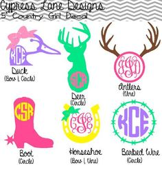 "5"" Custom Country Girl Decals with Monogram on Etsy, $6.00"