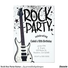 Shop Rock Star Party Guitar Birthday Event Invitations created by printabledigidesigns. Rockstar Party, Rockstar Birthday, Lollipop Party, Diva Party, Vip Pass, Lollapalooza, Star Wars Party, Pop Rocks, Data Science