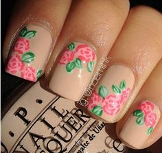 Nude color with roses nails