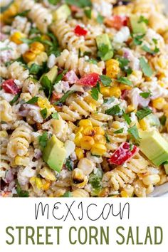 If you're a fan of Classic Mexican Street Corn then you're going to LOVE this fun twist in the form Mexican Street Corn PASTA SALAD! Healthy Pasta Recipes, Healthy Pastas, Pasta Salad Recipes, Cooking Recipes, Corn Pasta, Veggie Pasta, Lentil Pasta, Summer Pasta Salad, Mexican Street Corn