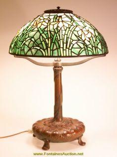 Old Tiffany Lamps | tiffany studios yellow daffodil lamp