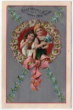 New Year Postcard Children w/ Flowers