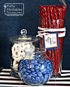 Red white and blue candies