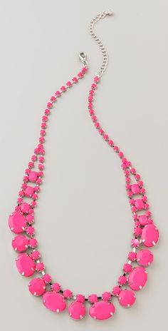 Brighten up your accessories with this Short Neon Stone Necklace by Adia Kibur. The chain necklace features faceted resin stones. Adjustable length and lobster-claw clasp. Pink Jewelry, Jewelery, Jewelry Accessories, Fashion Accessories, Fashion Jewelry, Beaded Necklace, Beaded Bracelets, Magenta, Necklaces