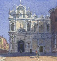 """St Giovanni, Venice"", watercolour, plein air by Rob Adams Rob Adams, Ravenna, Venice, Watercolour, Taj Mahal, Saints, Italy, Artist, Travel"