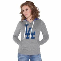 Touch by Alyssa Milano L.A. Dodgers Ladies Teagan Full Zip Hoodie - Ash