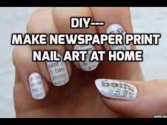 DIY- how to make newspaper print nail art