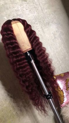 Burgundy Deep Wave Human Hair Lace Front Wig/Full Lace Wig Source by lamyais Hair Wigs Wig Styles, Curly Hair Styles, Natural Hair Styles, Ponytail Styles, Matte Nails Acrylic, Lush Wigs, Ron Burgundy, Burgundy Hair Black Girl, Maroon Hair