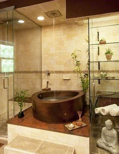 Zen Bathroom Design With Glass Open Shelves And Freestanding Copper Tub And Waterfall Shower Zen Bathroom Decor, Asian Bathroom, Bathroom Spa, Bathroom Styling, Bathroom Interior Design, Bathroom Trends, Bathroom Ideas, Master Bathroom, Bathroom Designs