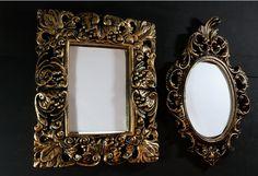 Moldura provençal de gesso pintada à mão na cor OURO VELHO. O kit compõe 2 peças. www.elo7.com.br/decorachados
