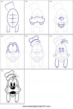 How to Draw Goofy Face from Mickey Mouse Clubhouse step by step printable drawing sheet to print. Learn How to Draw Goofy Face from Mickey Mouse Clubhouse Easy Disney Drawings, Disney Character Drawings, Drawing Cartoon Characters, Disney Face Characters, Disney Sketches, Easy Drawings, Drawing Cartoons, Drawing Disney, How To Draw Cartoons