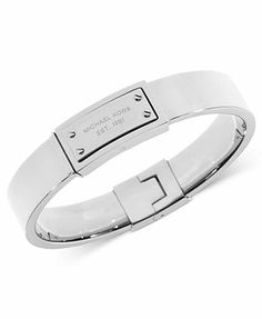 Michael Kors Silver-Tone Logo Plaque Bangle Bracelet