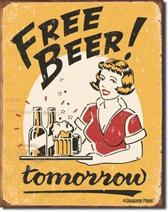 Free Beer 16 x 12 Nostalgic Metal Sign | Man Cave Kingdom