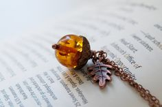 Amber and Copper Acorn Necklace by EnchantedLeaves on Etsy