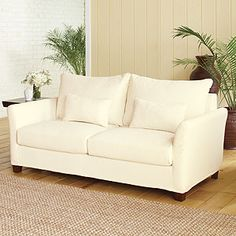 Ivory luxe sofa slipcover collection