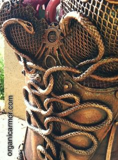 Steampunk Medusa corset, detail by Organic Armor