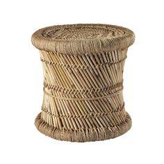 Flechthocker MOGALE aus Naturfasern und Bambus