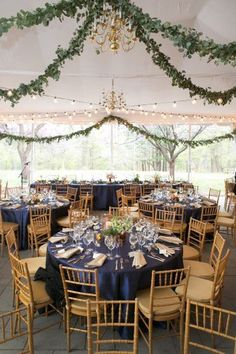 navy wedding reception tables, flower centerpiece ideas, garland ceiling treatment, tent ceiling draping from nature inspired wedding at Woodend Sanctuary Maryland wedding Wedding Draping, Romantic Wedding Receptions, Wedding Reception Flowers, Wedding Reception Centerpieces, Garland Wedding, Wedding Tables, Rustic Wedding, Wedding Decorations, Wedding Dresses