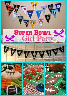 Super Bowl Girl Party. Ideas for throwing a football themed party without the guys. Tips and tutorials for food and decorations.