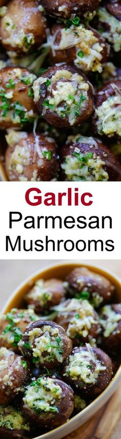 Garlic Parmesan Roasted Mushrooms – buttery and delicious oven roasted mushrooms loaded with garlic and Parmesan cheese. Takes 8 mins prep   rasamalaysia.com