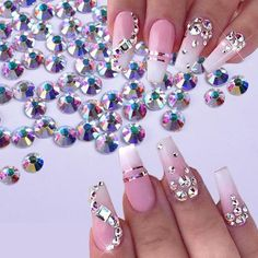 Nail Designs Bling, Nails Design With Rhinestones, Cute Acrylic Nail Designs, Best Acrylic Nails, Nail Art Designs, Nail Crystal Designs, Ballerina Acrylic Nails, Diamond Nail Designs, Popular Nail Designs