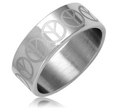 $4.99 - Stainless Steel Men's Ring with Peace Signs