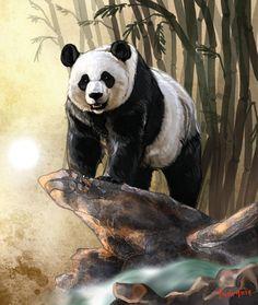 Another asian panda lol looks pretty similar to my other panda ^^ I had to use a reference for this~ Enjoy! Image (C) chaoslavawolf. Animal Paintings, Animal Drawings, Image Panda, Panda Bear Tattoos, Arte Zombie, Panda Painting, Wallpaper Fofos, Scratchboard Art, Panda Art