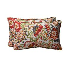 Pillow Perfect Floral 2-Pack Red Floral Rectangular Outdoor Decorative Pillow