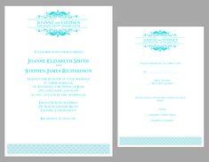 teal logo free wedding invitation kit