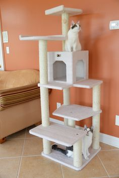 Features:  -Covered with ivory faux fleece.  -Ships ready to assemble with step by step instructions and tools.  -All scratching posts are wrapped in 100% cured sisal for long-lasting scratchability..