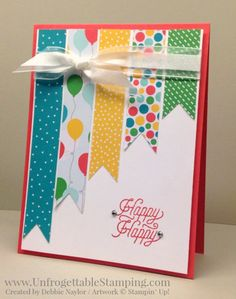 Unfrogettable Stamping | QE birthday card featuring the Cherry on Top DSP and March Paper Pumpkin stamp set by Stampin' Up for week of 2016-03-21