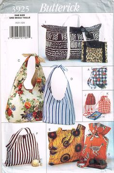 Butterick Stitching Sample 3925 Purse Purse Pocketbook Tote Carryall Market Bag Drawstring Duffle Uncut