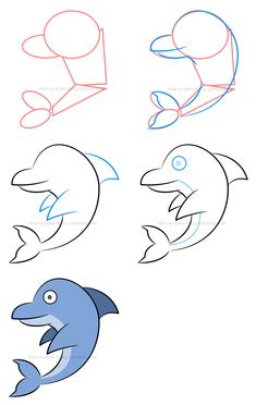 How to draw a cartoon dolphin, select the proper color and then make the whole illustration in Art Drawings For Kids, Love Drawings, Cartoon Drawings, Drawing Cartoon Animals, Drawing Skills, Drawing Techniques, Drawing Tips, Drawing Ideas, Cartoon Dolphin