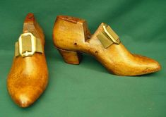 Pair of Decorated Wooden Shoe Lasts.