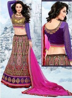 Flamboyant Brown & Mehendi Green Color Net Bases #Lehenga #Choli #bridallehenga #ethnicwear #womenfashion #clothing #fashion