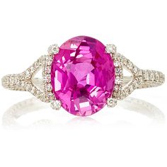 Martin Katz Oval Pink Sapphire Ring ($56,000) ❤ liked on Polyvore featuring jewelry, rings, pink, pink ring, pink sapphire jewelry, pink sapphire ring, oval ring and pink jewelry
