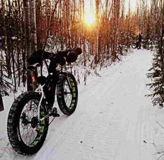 The wider tires on fat bikes roll over the snow better than regular mountain bikes. The first fat bikes were made by welding the rims of three mountain bike wheels together.