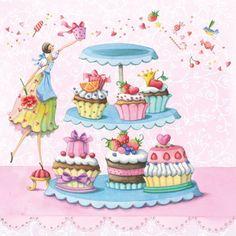 Risultati immagini per nina chen Happy Birthday Illustration, Cute Illustration, Happy Birthday Pictures, Happy Birthday Greetings, Cupcake Art, Happy B Day, Whimsical Art, Belle Photo, Cute Drawings