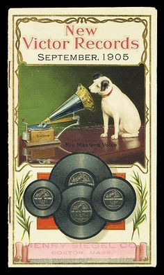 """1905 """"His master's voice"""". The dog we know and love is Nipper. He's listening to a wind-up gramophone. In the photograph on which the painting was based, Nipper was listening to a phonograph cylinder. Pub Vintage, Vintage Labels, Vintage Ephemera, Vintage Cards, Poster Ads, Advertising Poster, Vintage Pictures, Vintage Images, His Masters Voice"""