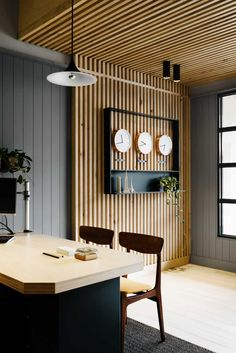 East Ivanhoe Travel & Cruise travel agency, interior by David Flack of Flack studio. This project is currently nominated in the 2015 Dulux Colour Awards. Wood Slat Wall, Wood Panel Walls, Wood Slats, Wooden Walls, Wood Paneling, Wood Slat Ceiling, Wooden Wall Panels, Paneling Sheets, Metal Walls