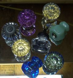 Drawer Pulls Eclectic Collection 8  Clear Blue Jadeite Green Pink Glass Knobs Flower Crystal Ball Depression Fluted Diamond