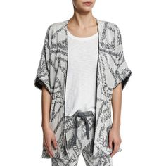 Skin Fiona Cotton-Blend Half-Sleeve Cardigan ($345) ❤ liked on Polyvore featuring tops, cardigans, tie belt, print cardigan, open front cardigan, black fringe top and half sleeve cardigan