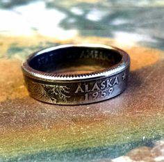 Alaska Quarter Ring  Coin Ring 2008 Quarter by ARemarkYouMade